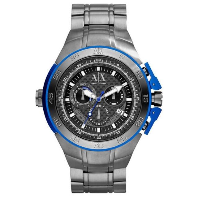 【A│X Armani Exchange】動感速度2013限量鈦合金腕錶尚腕錶(鋼帶-藍銀 AX7005)