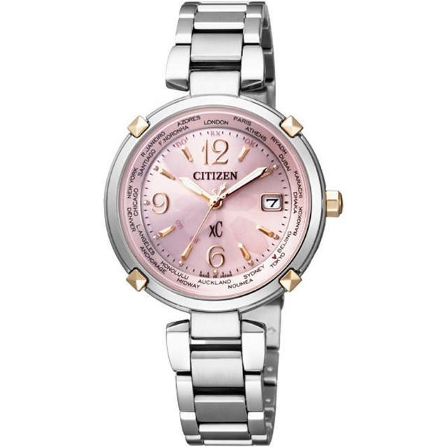 【CITIZEN】xC系列 親暱典藏光動能鈦金屬腕錶(粉紅銀 EC1044-55W)