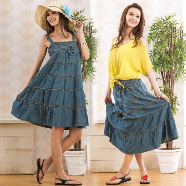【RH】牛仔花樣兩用洋裝花裙(活力藍M-XXL)