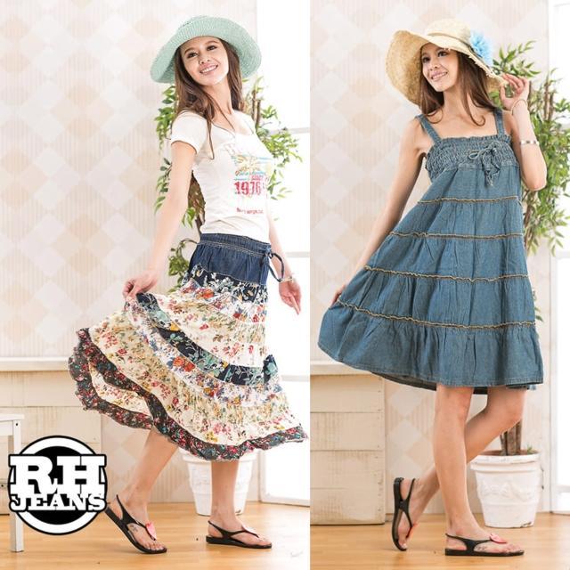 【RH】4-牛仔裙洋裝兩件組(活力藍加併接花布M-2L)