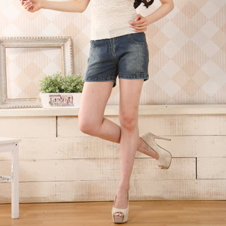 【RH】時尚牛仔造型三分短褲(修身復古藍)