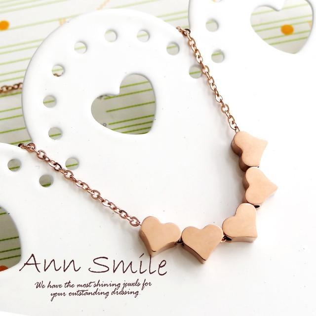 【微笑安安】亮面5愛心墜鋼質鎖骨項鍊(共2色)