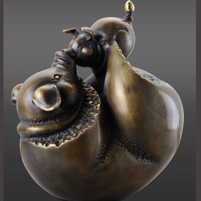 【雕塑藝術大師 羅廣維】開運陶源 豬銅雕 禮品(慈愛.圓滿)