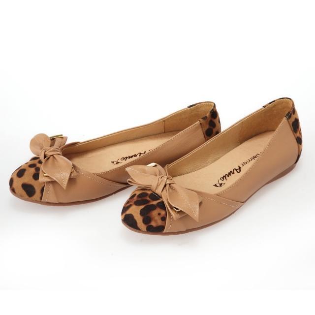 美国Arnold palmer优雅金属蝴蝶豹纹真皮鞋