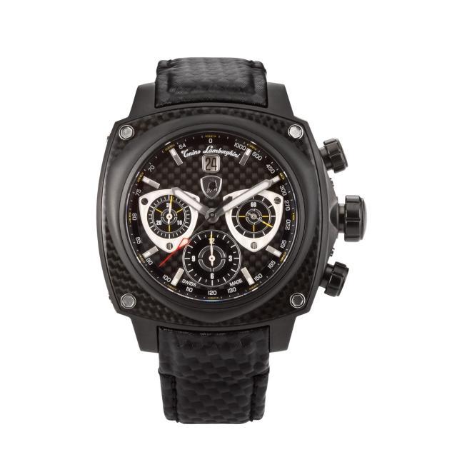【Tonino Lamborghini】林寶堅尼 自動碳纖維黑圈黃指針碳纖帶腕錶