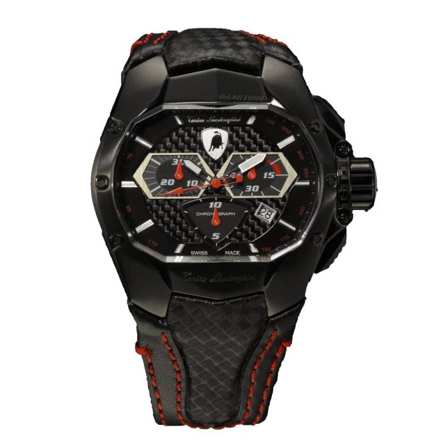 【Tonino Lamborghini】林寶堅尼 橫橢圓黑面IP電鍍石英皮帶腕錶