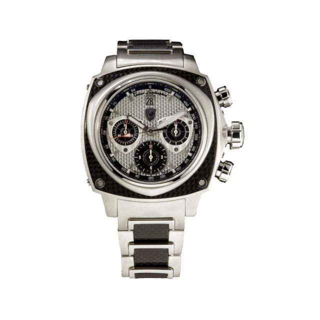 【Tonino Lamborghini】林寶堅尼 自動碳纖維黑圈灰面碳纖帶腕錶