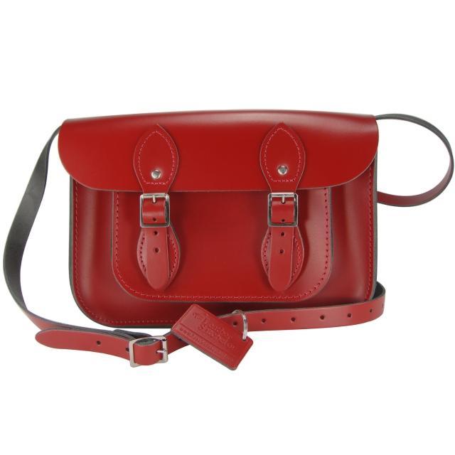 【The Leather Satchel Co.】11吋 英國手工牛皮劍橋包 肩背 側背手拿包(心機紅)