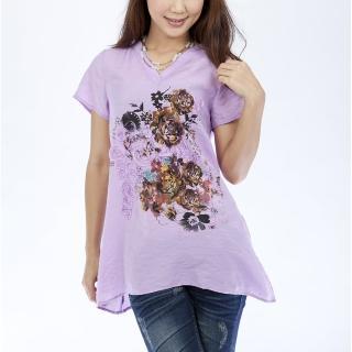 【Delicacy】 訂製立體圖案輕涼柔感上衣 紫色