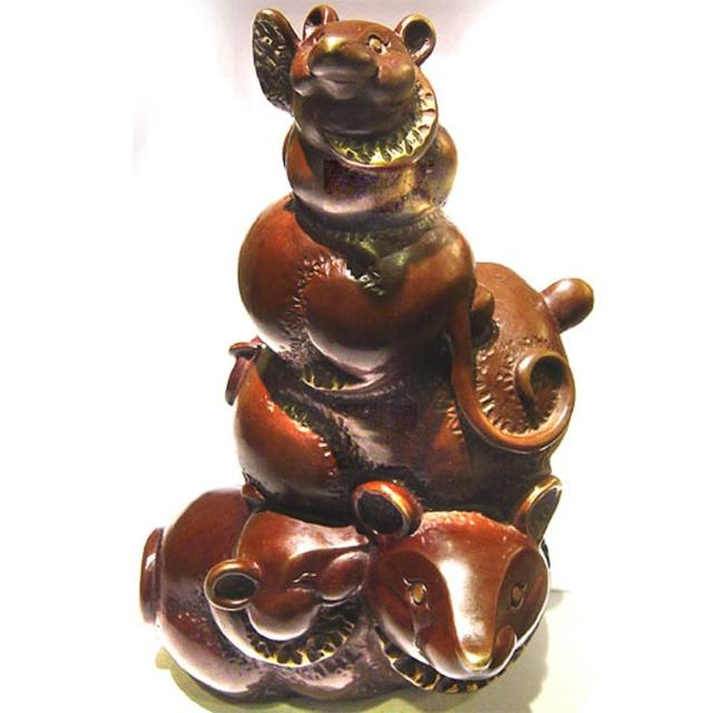 【雕塑藝術大師 羅廣維】開運陶源 鼠銅雕 禮品(五子登科步步高升)