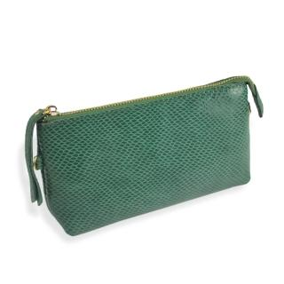 【Dennibella 丹妮貝拉】時尚名媛 漆皮蛇紋手拿包(綠)