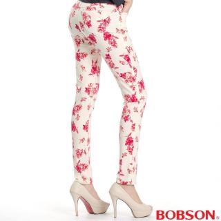 【BOBSON】女款高腰強彈印花小直筒褲(紅花13)