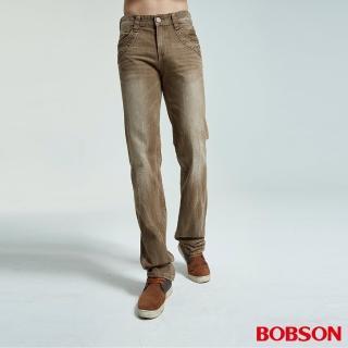 【BOBSON】男款洗刷紋半舊直筒褲(棕75)