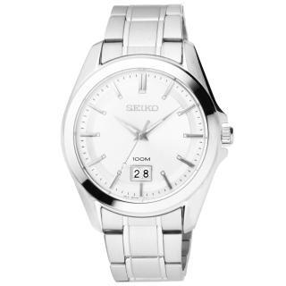 【SEIKO】榮耀時刻日期都會腕錶(鋼帶-銀 SUR007P1)