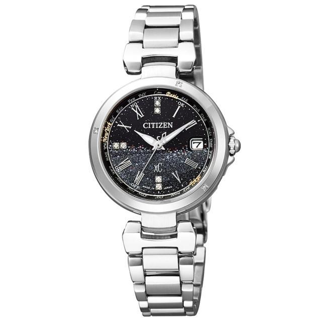 【CITIZEN】xC系列 星砂運河光動能鑽石腕錶(鋼帶-銀黑 EC1031-57E)