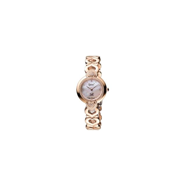 【Ogival】愛其華 華麗恣態真鑽腕錶-珍珠貝/玫塊金/28mm(380-17DLR)