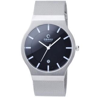 【OBAKU】極簡時代優雅時尚腕錶(黑面白刻V123GCBMCA)