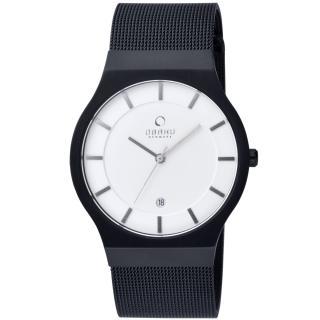 【OBAKU】極簡時代優雅時尚腕錶(黑帶白面V123GBIMB)