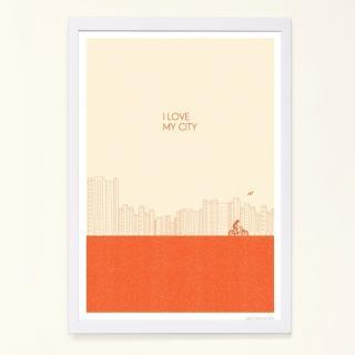 【摩達客】西班牙知名插畫家Judy Kaufmann海報掛畫裝飾畫-我愛我的城市-橘紅色(附簽名 含木框)