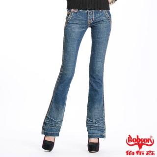 【BOBSON】女款磨力美人低腰小喇叭褲(藍53)