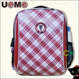 【快速到貨】UnMe超輕格菱系後背書包(紅格色)
