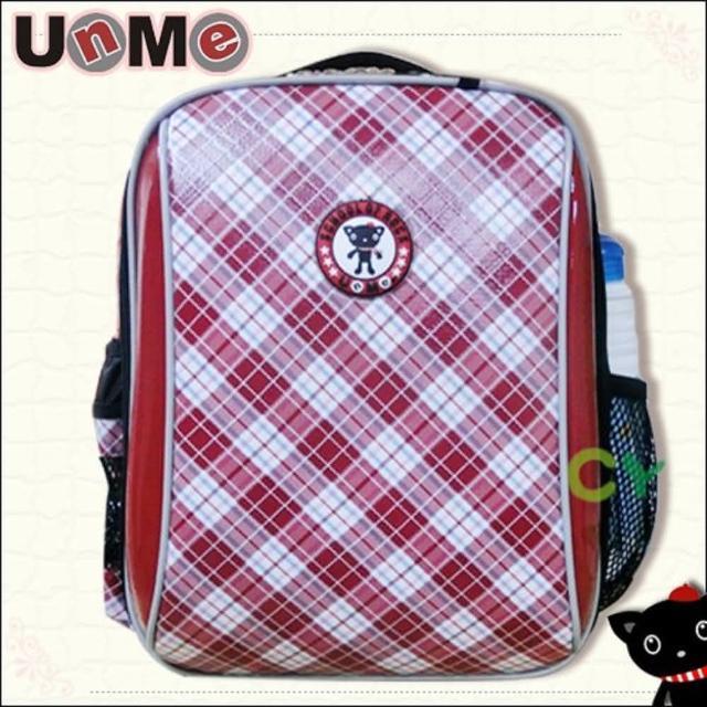 【UnMe】超輕格菱系後背書包(紅格色)