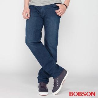 【BOBSON】男款高腰膠原蛋白彈性直筒褲(藍1791-53)