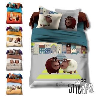 【SHEEPS】《瞌睡羊》精梳棉加大雙人床包被套四件組(2款)