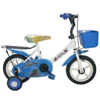 【Adagio】12吋酷樂狗輔助輪童車附置物籃(藍色)