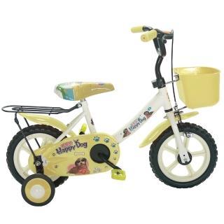 【Adagio】12吋酷樂狗輔助輪童車附置物籃(米色)