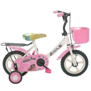 【Adagio】12吋酷樂狗輔助輪童車附置物籃(粉色)