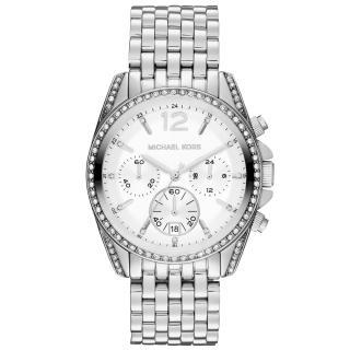 【Michael Kors】純粹思維三眼晶鑽時尚腕錶(白銀 MK5834)