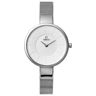 【OBAKU】采麗時刻時尚腕錶-銀色(V149LCIMC)