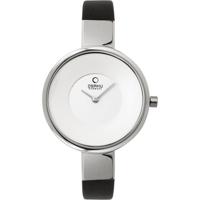 【OBAKU】采麗時刻時尚腕錶-銀框黑帶(V149LCIRB)
