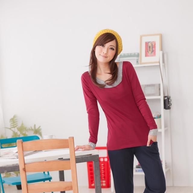 【衣心衣意中大尺碼】時尚主打-韓版接片水鑽上衣(黑-棗紅FD3A1034)