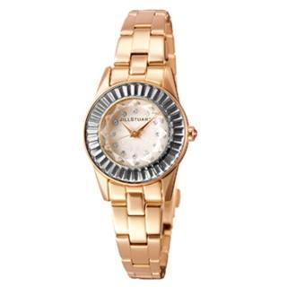 【JILL STUART】都會時尚新女性金屬腕錶 方晶鋯石玫瑰金手錶(玖飾時尚NE1017)