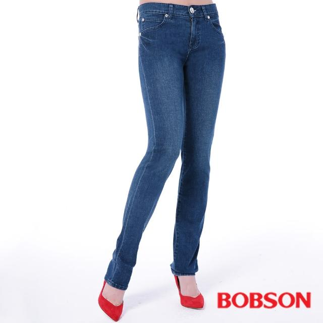【BOBSON】女款膠原蛋白直筒褲(藍8084-53)
