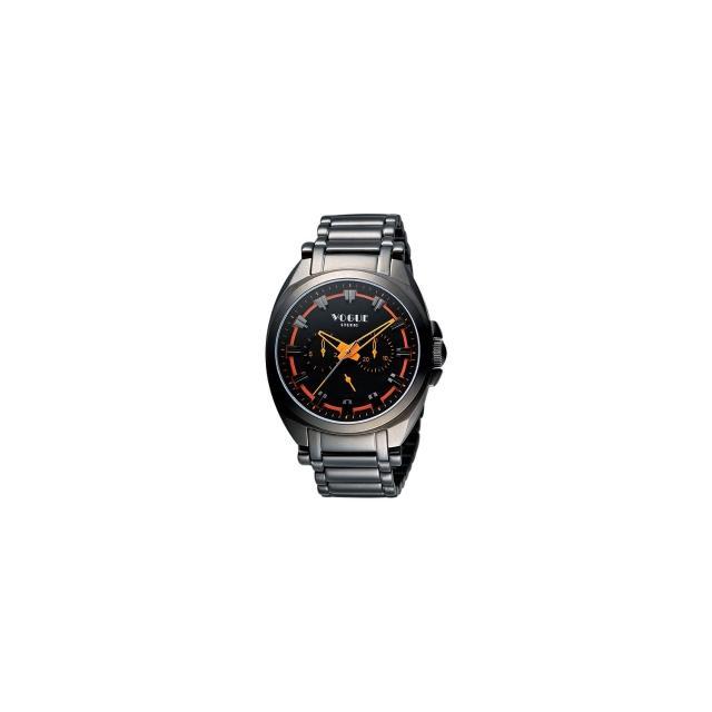 【VOGUE】嶄新系列日曆時尚腕錶-IP黑X橘/42mm(9V0434DO)