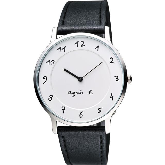 【agnes b.】法國時尚藝術腕錶-白/黑/39mm(VJ20-K240LB BJ5004X1)