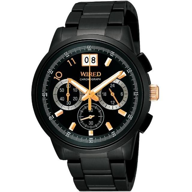 【WIRED】國王與你大視窗三眼計時限量腕錶-IP黑/40mm(VK73-X004SD)