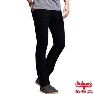 【BOBSON】男款低腰高彈力直筒褲(黑88)