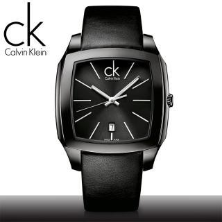 【瑞士 CK手錶 Calvin Klein】IP鍍黑方形放射狀面盤男錶(K2K21402)