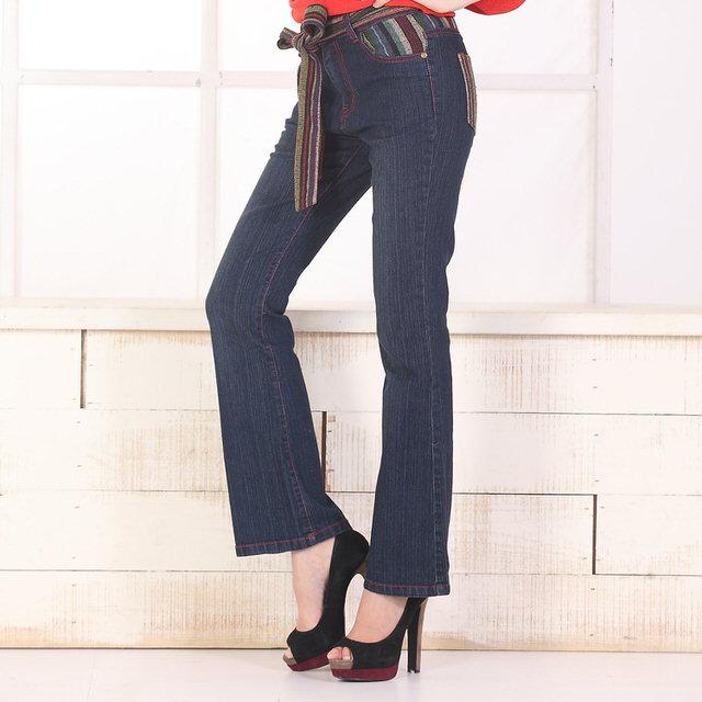 【RH】中腰波西米亞風小喇叭牛仔褲(深藍色配直條紋布織帶)