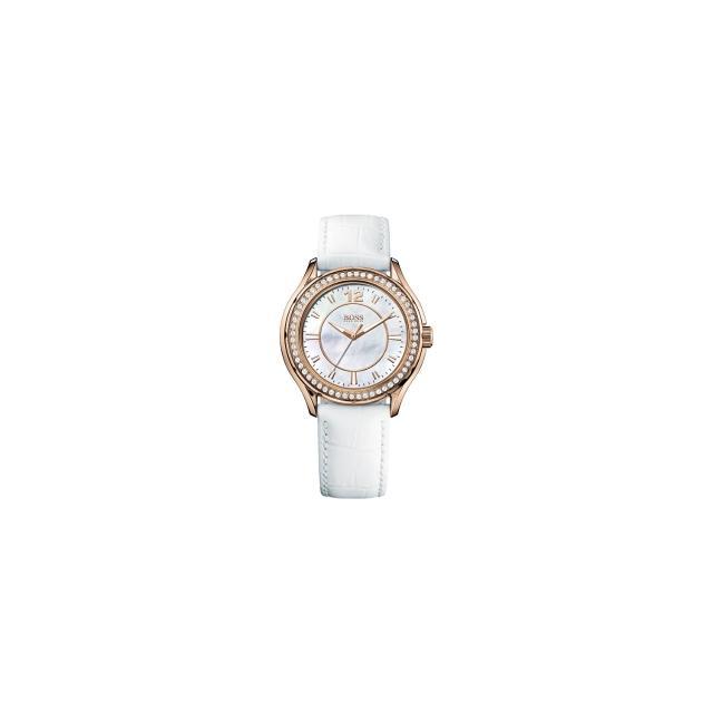 【Hugo Boss】美麗翹佳人珍珠晶鑽腕錶-白/玫塊金(H1502265)