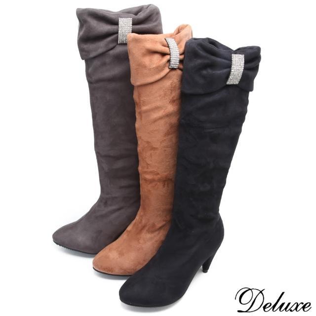 【Deluxe】甜冬氛圍-抓皺彈力布閃耀水鑽反折2way長靴(★二色)