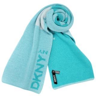 【DKNY】簡約字母LOGO雙色休閒圍巾(湖水藍)