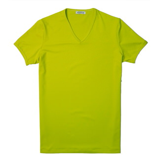 【ATTI TUDE】彈性運動V領彩色短袖T恤(亮黃色)