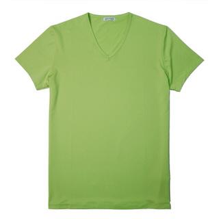 【ATTI TUDE】彈性運動V領彩色短袖T恤(亮綠色)