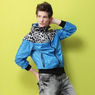 【NBL-NEWBOYLONDON】J0211淺藍色與黑色拼接豹紋風衣外套(零碼出清虧本價)