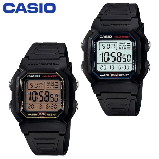 【CASIO 卡西歐 電子錶系列】當兵/學生指定款/防水100米/LED照明(W-800H W-800HG)